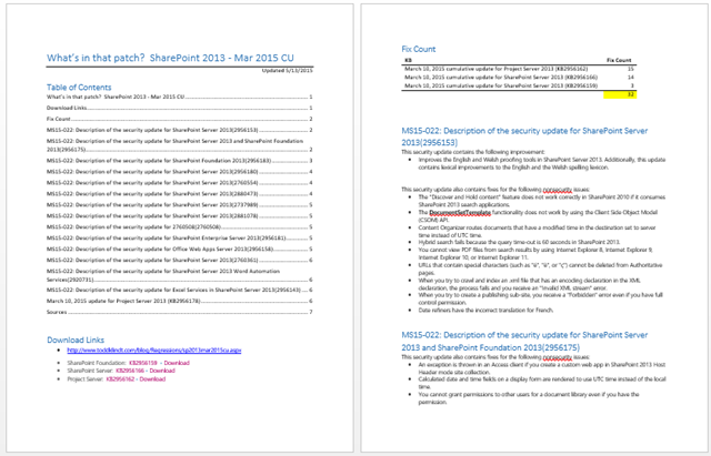 What's in that patch? SharePoint 2013 – Mar 2015 CU