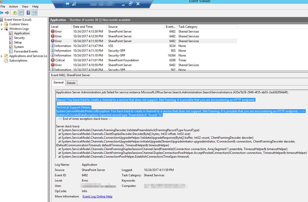 FIXED – Search Host Controller won't start 1067 / 6482 HTTP