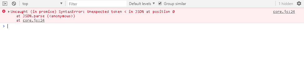unexpected token in json at position 0