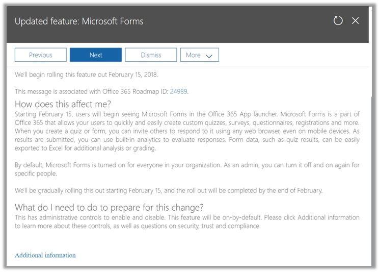 Microsoft Forms in the Office 365 App launcher (Feb 15