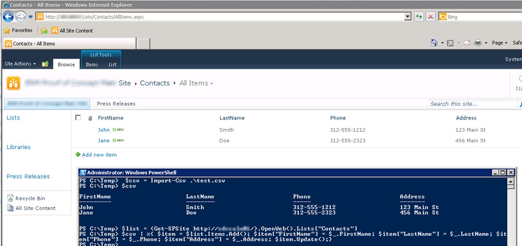 PowerShell – upload CSV file to List (both Server and Client OM